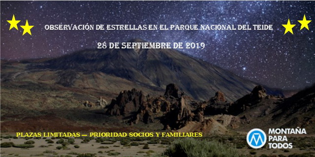 Cartel Ruta Observación de estrellas en el PN Teide